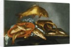 A Pike, Carp, Tench and Roach with a Sieve and a Brass Bucket on a Ledge, 1661 by Abraham Susenier