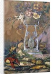 Flowers in a Vase on a Stand with Asparagus, Lobsters, Oysters and Fish by Dragutin Inkiostri-Medensak