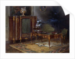 An Interior with a Louis XV Style Ormulu-mounted and Parquetry Bureau Plat and Bibliotheque by French School