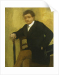 Young Man sitting with Jacket and Umbrella by Edgar Degas