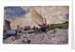 Etretat Beach North of Le Havre; Spiagia di Etretat a Nordi di Le Havre, c.1870-72 by Giovanni Boldini