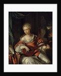 A lady playing the lute in a portico by Pieter van der Werff