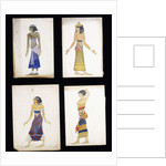 Egyptian Costume Designs for a Dancer, a Musician, Ta-Or, and Cleopatra's Sister by Leon Bakst
