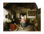 Interior of a Larder with Women cleaning Game, 1852 by Hubertus van Hove