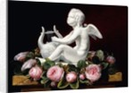 Garland of Pink Roses around Cupid playing a Lyre on a marble ledge, 1841 by Johan Laurents Jensen