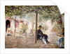 Ladies in a Sun-dappled Courtyard by Jose Gallegos Arnosa