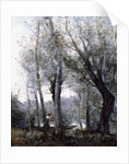 A Barge passing beind Trees on the Shore, 1865-70 by Jean Baptiste Camille Corot