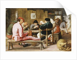 Boors Smoking and Drinking at a Table in a Tavern, c.1625 by Adriaen Brouwer