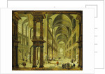 An Imaginary Church Interior with Figures by Christian Stocklin