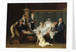 Portrait of the Marquis and Marquise de Cramayel and their seven Children in an Interior by French School