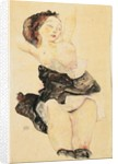 Young girl reclining, half nude, 1912 by Egon Schiele