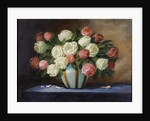 Pink and White Roses in a Blue Vase by English School