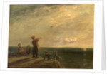 Seascape with Figures and Dog, Sunset by William Collins