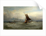 Boats in a Gale off Ostend, Belgium, 1875 by Edwin Hayes