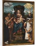 Virgin and Child Enthroned with Saint John the Baptist, Saint Antoninus, a Female Donor and a Beggar, 1526 by Bernardino Luini