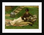 The Novel, A Lady in a Garden reading a book by Frank Dicey