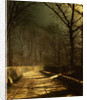 A Moonlit Lane, with two lovers by a gate by John Atkinson Grimshaw