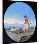 Fisherman on beach, with island of Capri in background by Italian School