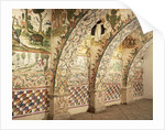 Chapel frescoes depicting religious and daily life scenes by School Peruvian