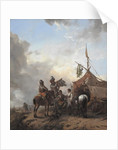 Soldiers carousing with a serving woman outside a tent, c.1655 by Philips Wouwermans or Wouwerman