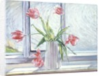 Tulips Against Moving Water by Timothy Easton