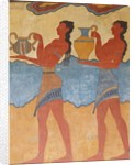 Figures of the procession fresco from the palace at Knossos by Minoan Minoan