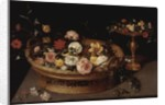 A Basket of Flowers with a Silver Gilt Tazza by Jan the Elder Brueghel