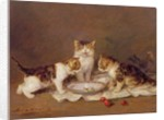 Three cats, red cherries and bees by Louis Eugene Lambert