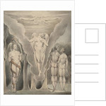 Illustration 4 to Milton's Paradise Lost: Satan Spying on Adam and Eve and Raphael's Descent into Paradise, 1807 by William Blake