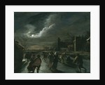 Moonlight Scene with Skaters by Dutch School