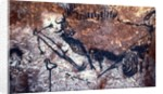 Prehistoric art: Scene of the Well: a man with a bird head and seems to fall or being pushed by a bison by Prehistoric Prehistoric
