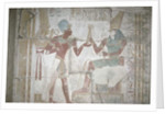 Relief of Isis, presenting Sethos I to Horus, New Kingdom by Egyptian 19th Dynasty