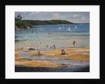 Salcombe North Sands, blue umbrella by Jennifer Wright