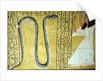 Inherkhau worshipping Sito serpent God of the Underworld by Egyptian 20th Dynasty