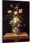 Vase with Relief and Flowers on a Marble Table by Johann Georg Hinz