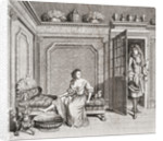 An 18th century lady taking a footbath is interrupted by a suitor by Anonymous