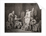 An artist painting from life using two models. After an engraving from c.1770 by Anonymous