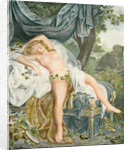 Le Someil D'Érigone. The Sleep of Érigone. Semi naked woman resting on a bed by Anonymous