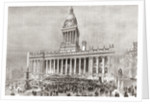 An open air band performance in front of Leeds Town Hall, Yorkshire, England in the 19th century by Anonymous