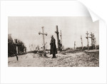 A Russian soldier at the grave of a comrade-in-arms during World War One by English Photographer
