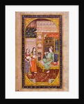 Two servant girls serve refreshment to a noble man in a richly decorated room, Rajasthani miniature painting by Indian School