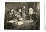Luther Melancthon Pomeranus and Cruciger translating the bible by English School
