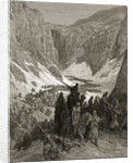 The Christian Army in the Mountains of Judea, illustration from 'Bibliotheque des Croisades' by J-F. Michaud by Gustave Dore