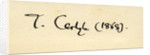 Signature of Thomas Carlyle in 1868 by English School