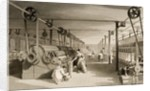 Carding, Drawing and Roving, Cotton factory floor by Thomas Allom