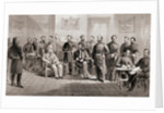 General Ulysses S. Grant and General Robert E. Lee with their respective staff at the Appomattox Courthouse by Anonymous