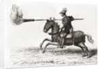 A medieval knight carrying a fire lance, or fire spear, one of the first gunpowder weapons in the world by French School