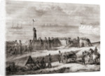 Communication between a ship entering port and the landed troops using the flag semaphore telegraphy system by French School