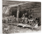 Sheep shearing in England in the 19th century by American School