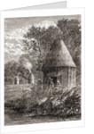 Early Gallic houses, a round cabin with a hole in the roof to allow the smoke from the fire to escape by French School